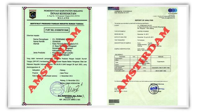 Sertifikat Kopi Luwak, sertifikasi kopi luwak