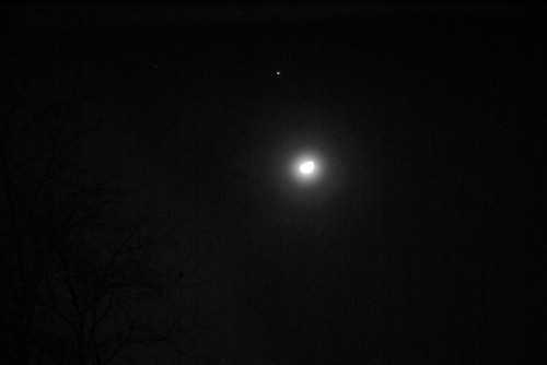Moon, Jupiter, and Aldebaran by rbabiera