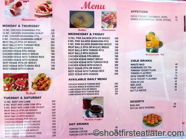 Jacob's Shawarma menu