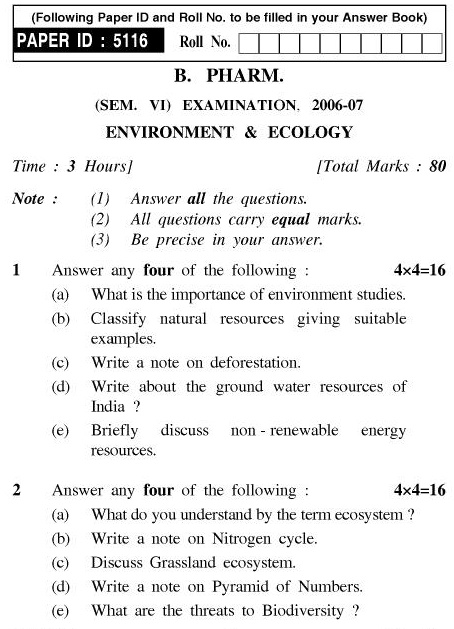 UPTU B.Pharm Question Papers PHAR-366 - Environment & Ecology