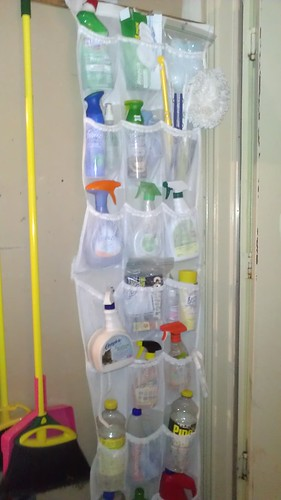 over the door shoe organizer for cleaning supplies