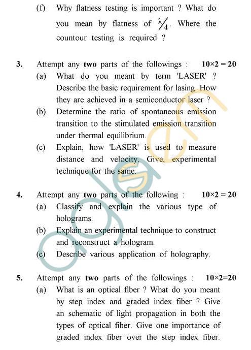 UPTU B.Tech Question Papers -IC-031 - Optical Instrumentation