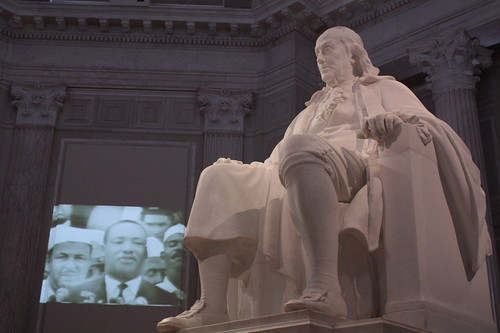 "historical pairing-the ""I have a dream"" speech was playing projected on the walls"