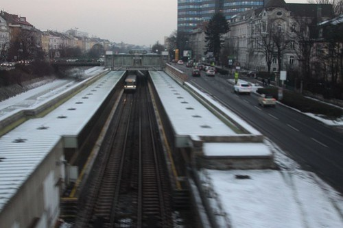 Passing over the top of U-Bahn line U4 at Unter St. Veit station