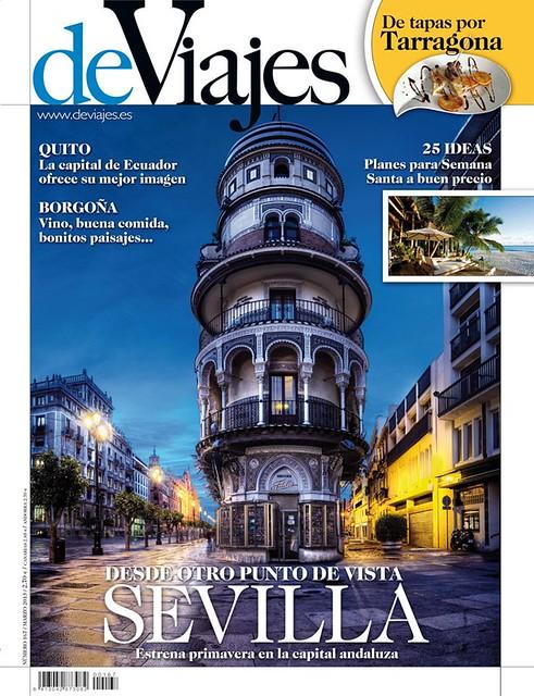 Una foto de Sevilla realizada por Domingo Leiva sirve como portada a la revista DEVIAJES del mes de Marzo