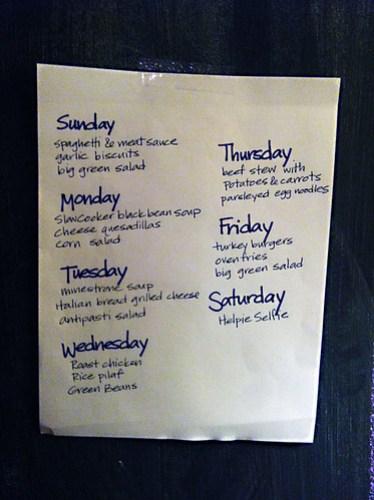 Meal plan, week 2 of 2013