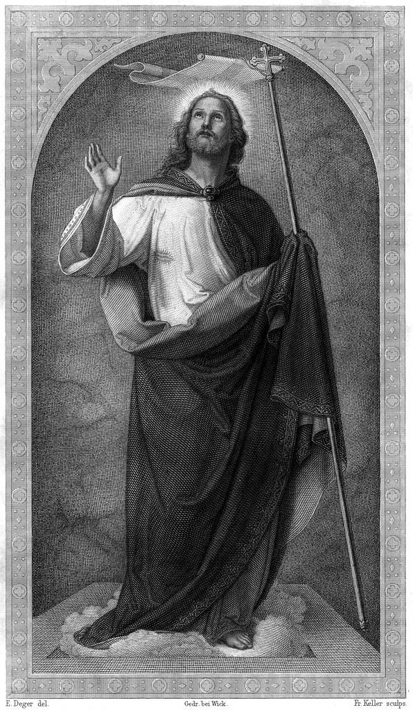 Jesus Christus der Auferstandene von Ernst Deger - Gravur von Fr. Keller - aus der Vulgata von Dr. Joseph Franz Allioli - 1830