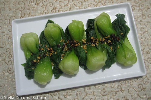 Stella Dacuma Schour Bok Choy with Chili Sauce and Fried Garlic Cooking with Stellaaa