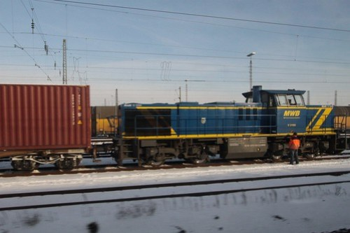 Mittelweserbahn GmbH (MWB) locomotive V2105 shunts a freight yard outside Regensburg