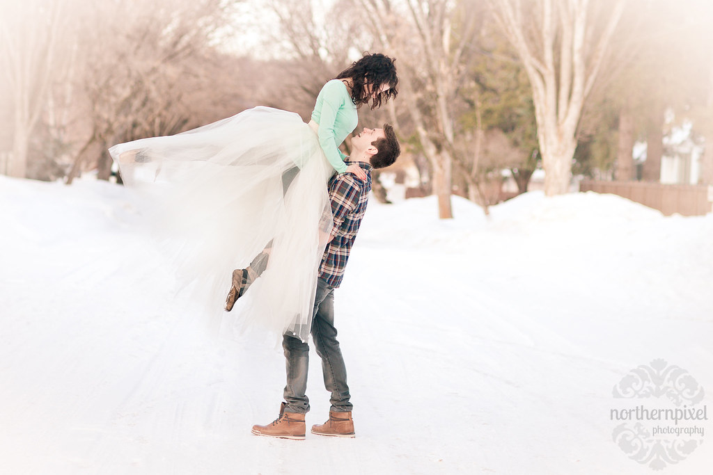 Winter Engagement Session Ballet Lift Prince George Northern BC