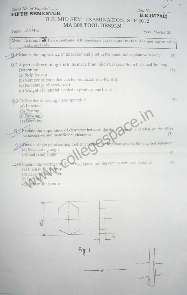 NSIT Question Papers 2012 – 5 Semester - Mid Sem - MA-303