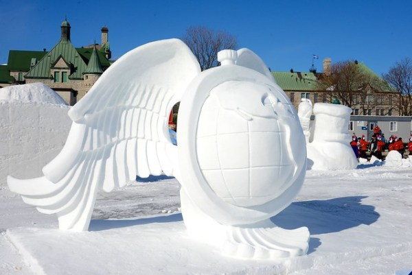 Quebec Winter Carnival snow sculptures, planning for bonnome carnaval
