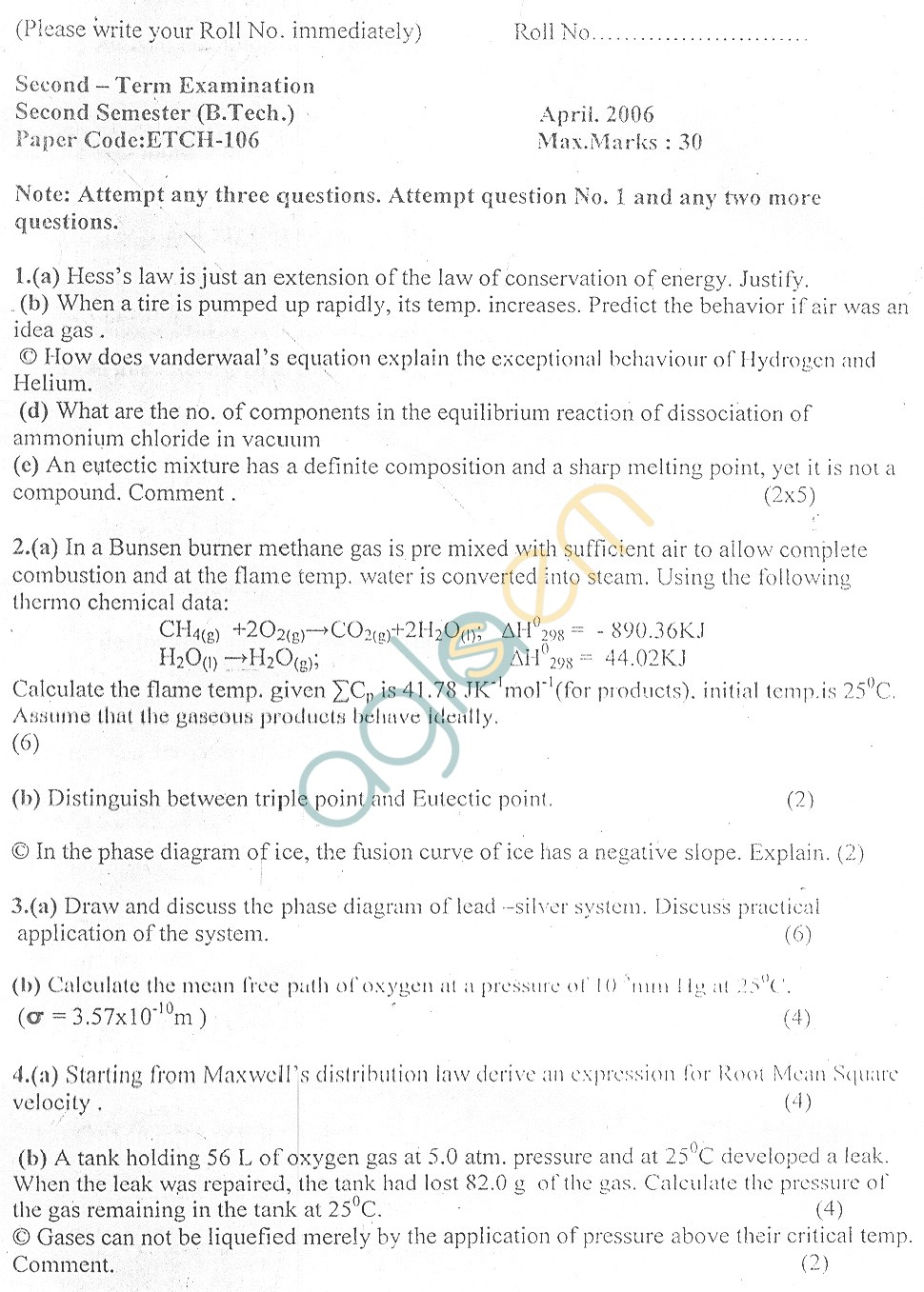 GGSIPU Question Papers Second Semester – Second Term 2006 – ETCH-106