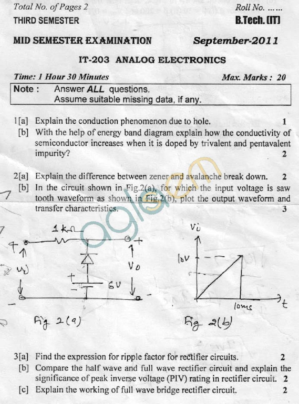DTU: Question Papers 2011 – 3 Semester – Mid Sem