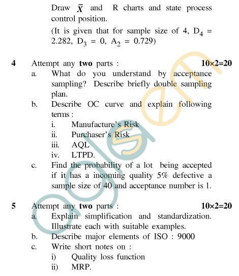 UPTU B.Tech Question Papers - TMT-602 - Total Quality Management