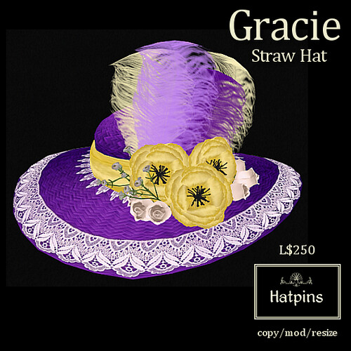 Hatpins - Gracie Straw Hat - Easter