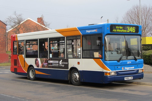 Stagecoach Manchester, Dennis Dart SLF, V484 LCW, Albion Hotel/Oxford Street, Dukinfield