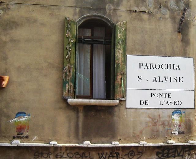 Window in urban Venice Italy