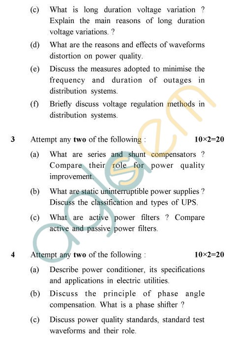 UPTU B.Tech Question Papers -EE-033 - Power Quality
