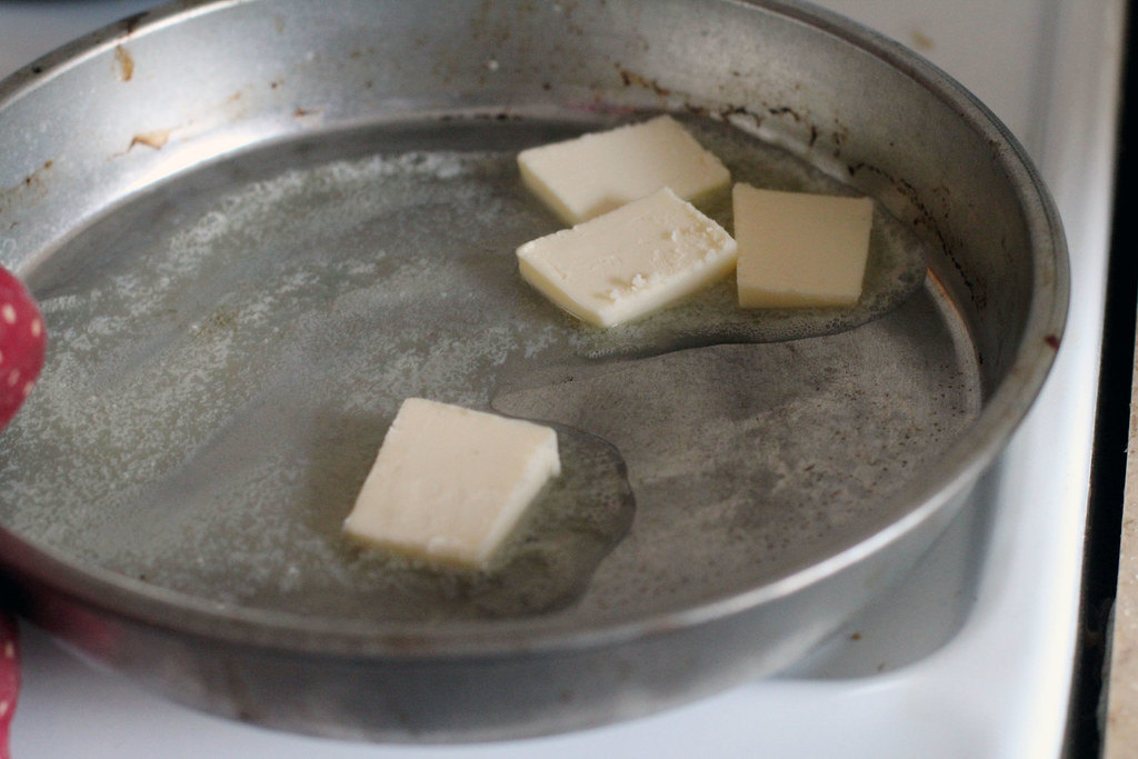 butter in hot pan