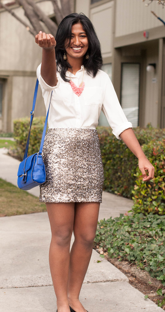How to wear a Sequin Skirt-1