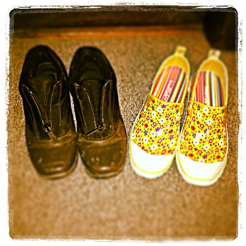 Mar 27 - pair {a pair of pairs of weatherproof foot ware - black = winter / yellow = spring} #fmsphotoaday #boots #shoes