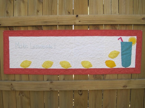 Make Lemonade quilt with hand embroidery