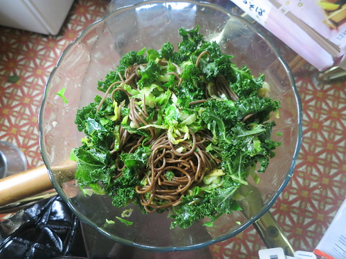 Kale and brussel sprout soba noodle salad