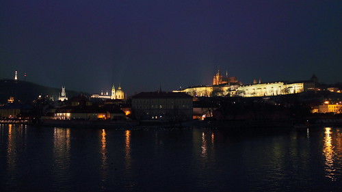 Malostranská view of Prague by night
