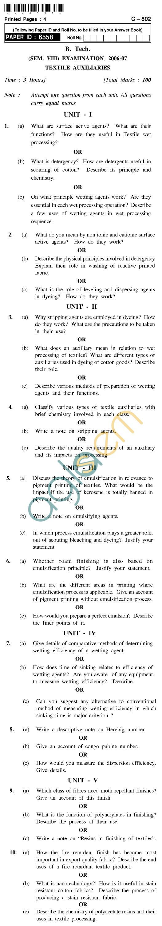 UPTU B.Tech Question Papers - C-802 - Textile Auxiliaries