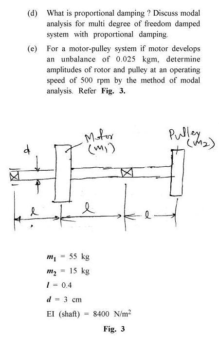 UPTU B.Tech Question Papers -ME-021 - Mechanical Vibration