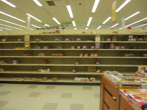 Bread shelves the night before Winter Storm Nemo