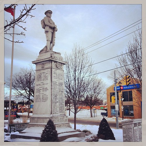 Feb 22 - monument {the cenotaph in Picton honoring those who gave the ultimate sacrifice in WWI, WW II, and Korea} #photoaday #picton #princeedwardcounty #cenotaph #soldier
