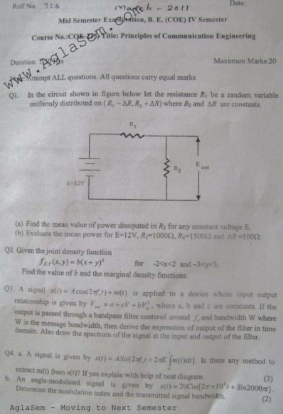 NSIT: Question Papers 2011 – 4 Semester - Mid Sem - COE-215