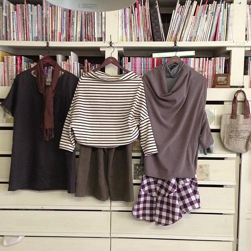 mifumiさんの明日の体験レッスンの服です。真ん中と右側のは同じ型紙です。