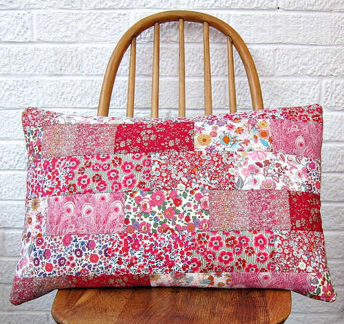 Liberty patchwork cushion (red)