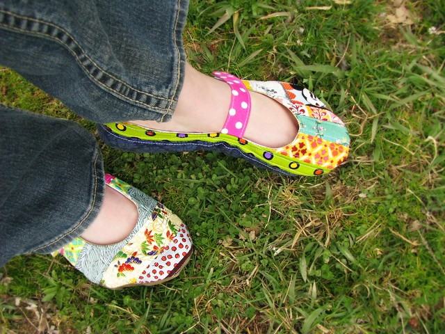 Handmade Quilted Shoes Left