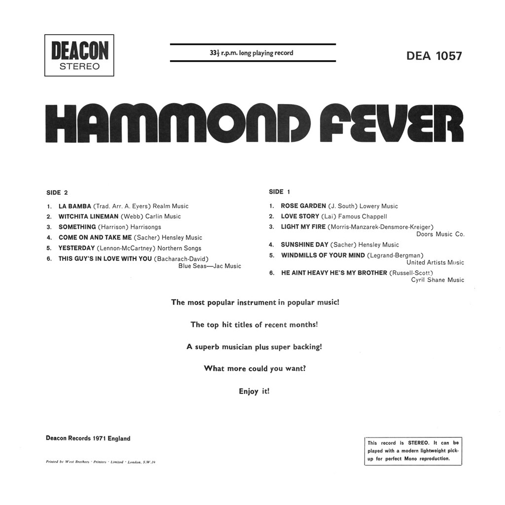 Unknown Artist ‎– Hammond Fever