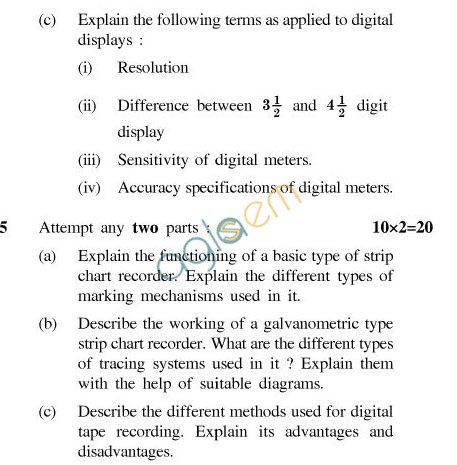 UPTU B.Tech Question Papers -IC-601-Transducers and Display Systems