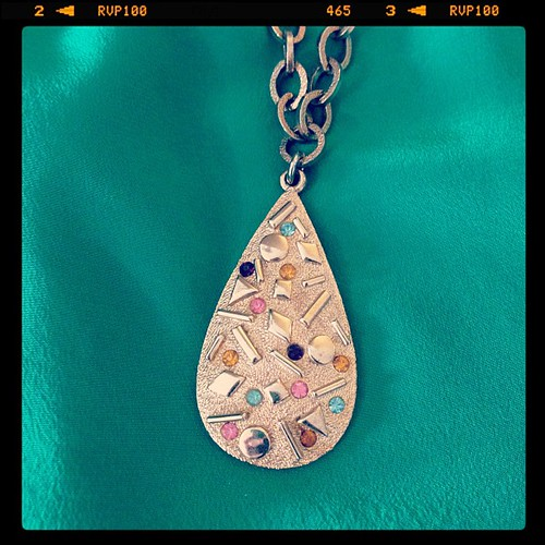 """[Oh our heart skipped a beat!] We've got a whole new collection of vintage accessories just in, and this gorgeous authentic Sarah Coventry teardrop gem necklace is one of the signed pieces in store now! Circa 1960, stamped """"Sarah Cov"""". :)"""