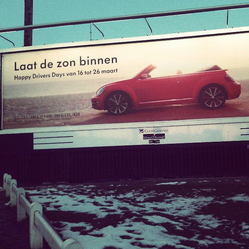 let the snow #vw #convertible #brussels #advertisement