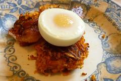sweet potatoe latkes with poached egg & bacon