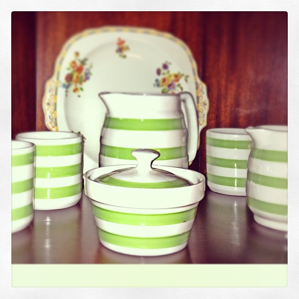Apr 4 - collection {part of my Cornish Ware collection; I really love the green} #photoaday #collection #cornishware