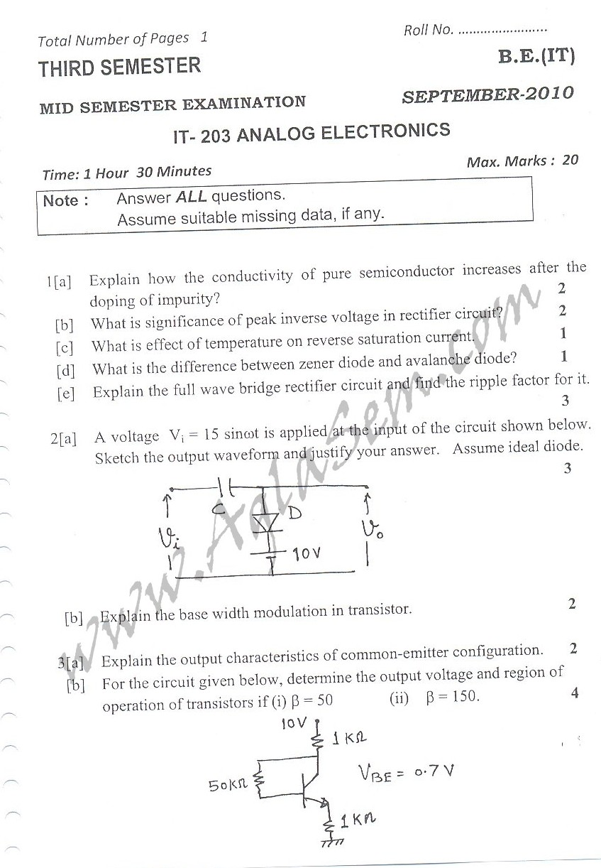 DTU Question Papers 2010 – 3 Semester - Mid Sem - IT-203