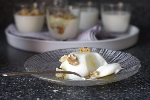yogurt panna cotta with honey, walnuts
