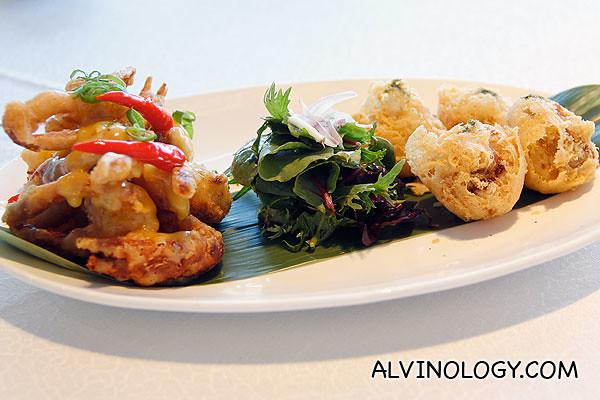 海鲜双拼-龙虾蟹肉荔枝球/ 奶柠软壳蟹 Duo seafood combo - Crispy lychee, lobster, crab meat, mushrooms, soft shell crabs, lemon butter milk sauce ($28 for 4 pax)