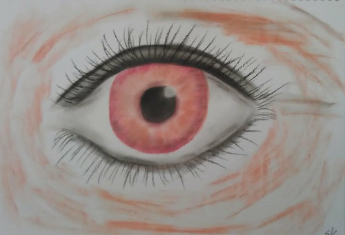 Skye's eye sketch with pastels