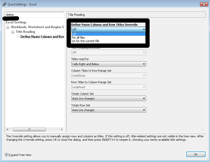 Image of the JAWS Quick Setting - Excel dialog box with the Define Name Column and row Title Override option highlighted