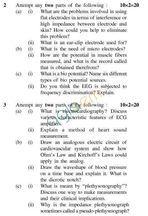 UPTU B.Tech Question Papers - EE-024-Bio Instrumetation