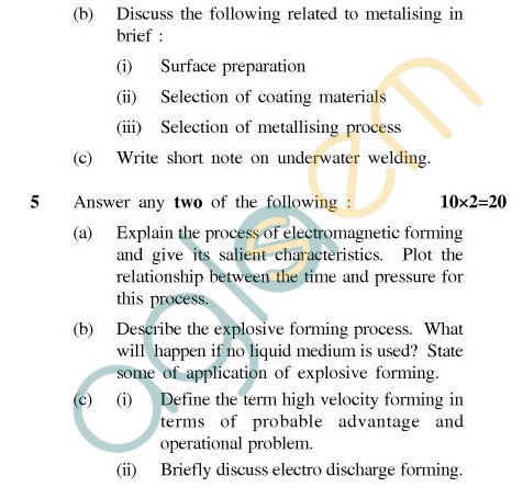 UPTU B.Tech Question Papers - TMT-603 - Unconventional Manufacturing Process